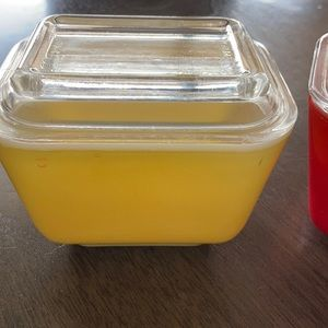 Vintage Kitchen - (2) Vintage Pyrex Primary Color Refrigerator Dish